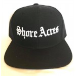 Shore Acres - Old School - White Print - Black Snapback Hat