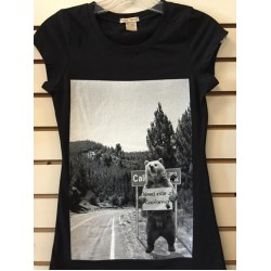 Cali Bear I Need A Ride - Black - Ladies - Custom Printed T-Shirt