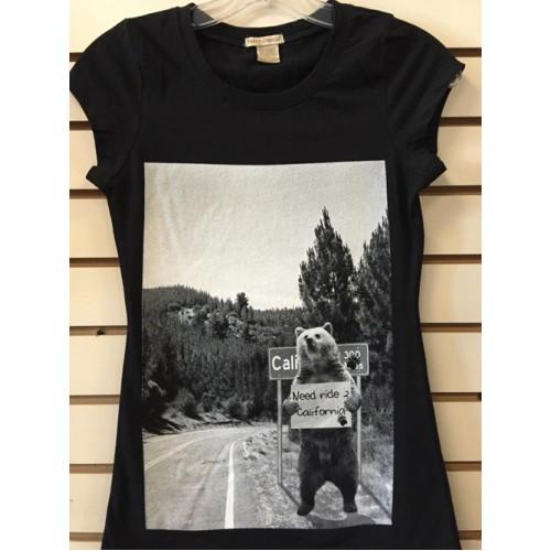 Bear I Need A Ride - Black - Ladies - Custom Printed T-Shirt