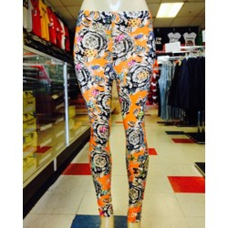 Leggings - Floral - Orange