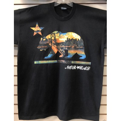 Norcal Bear City Skyline - Black - Custom T-Shirt