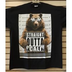 Straight Outta Cali Bear - Black - Custom T-Shirt